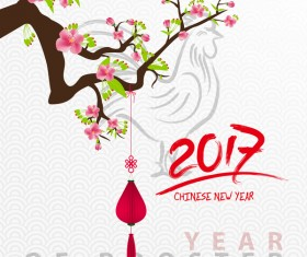 2017 chinese new year of rooster with flowers vector 07