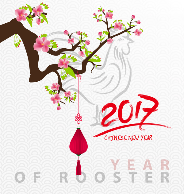 2017 chinese new year of rooster with flowers vector 07 - Flowers for chinese new year ...