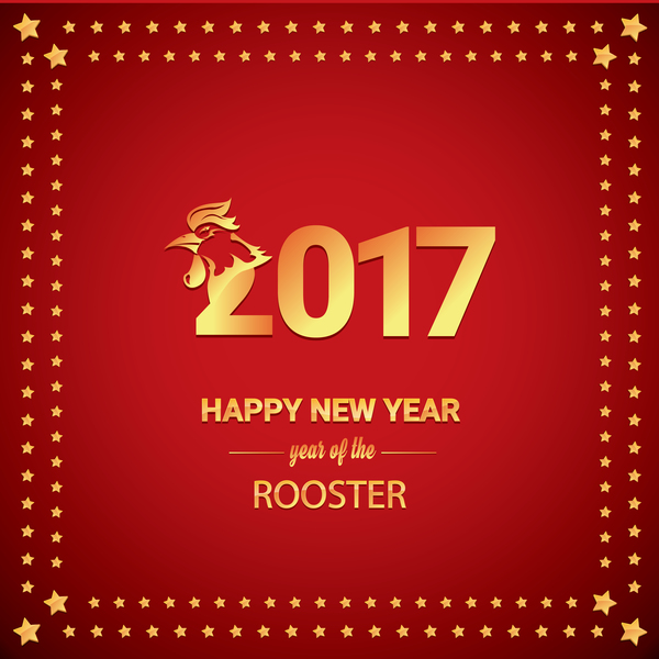 2017 Chinese New Year Of Rooster With Stars Frame Vector 02
