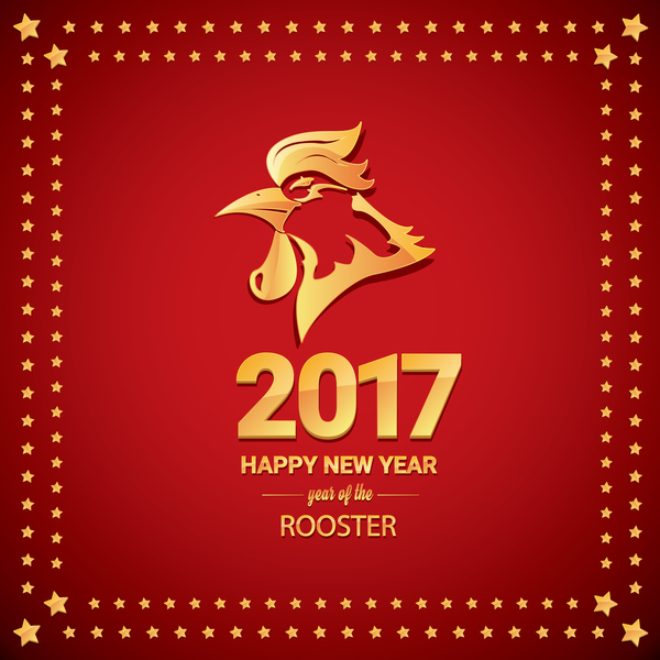 2017 Chinese New Year Of Rooster With Stars Frame Vector 03 Free