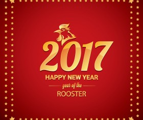 2017 chinese new year of rooster with stars frame vector 04