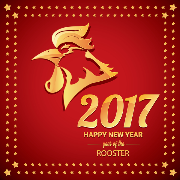 2017 Chinese New Year Of Rooster With Stars Frame Vector 05