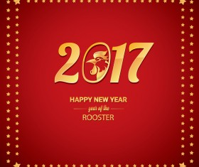 2017 chinese new year of rooster with stars frame vector 06