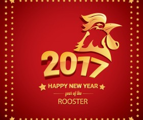 2017 chinese new year of rooster with stars frame vector 07