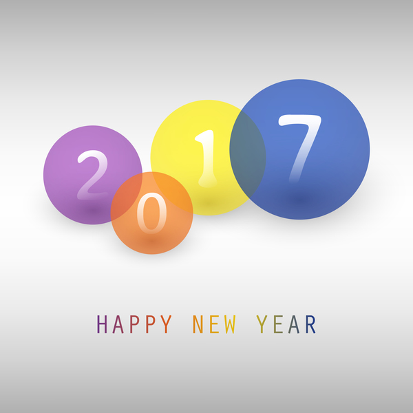 2017 new year background with colored cricle vector