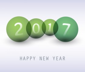 2017 new year background with green cricles vector