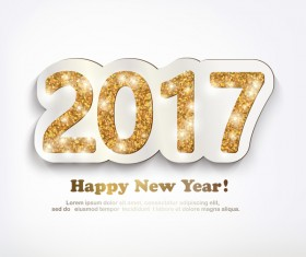 2017 new year golden glitter text with white background vector 01