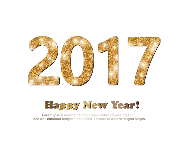 2017 new year golden glitter text with white background vector 02