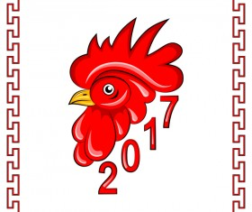 2017 new year of rooster with frame vector