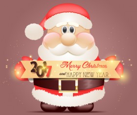 2017 new year with christmas banner and santa vector
