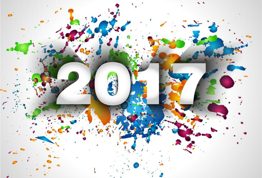 2017 new year with paint background vector