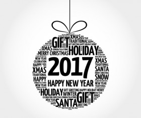 2017 new year with word cloud christmas ball vector