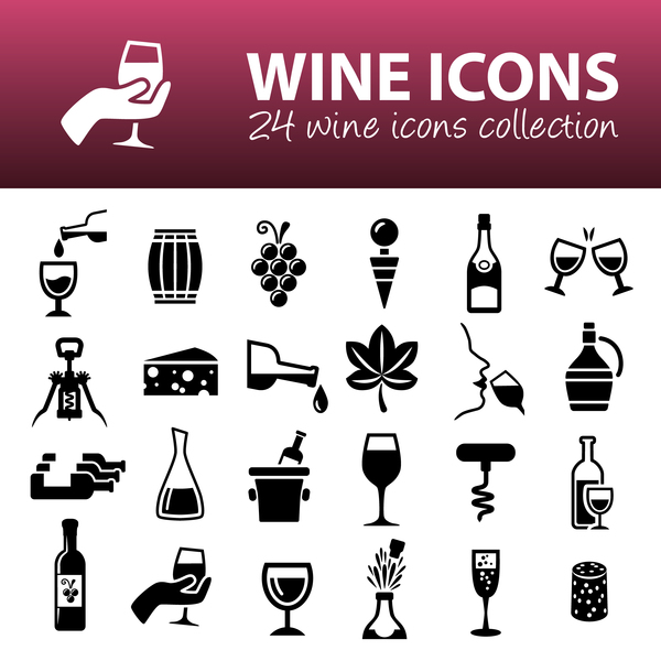24 kind wine icons