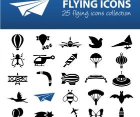 25 kind flying icons set