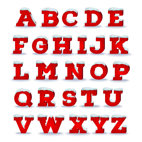 3D red christmas alphabet vector material - Vector Font free download