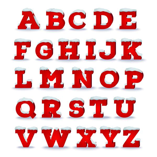 Christmas Alphabet.3d Red Christmas Alphabet Vector Material Free Download