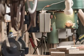 A machine operator Stock Photo