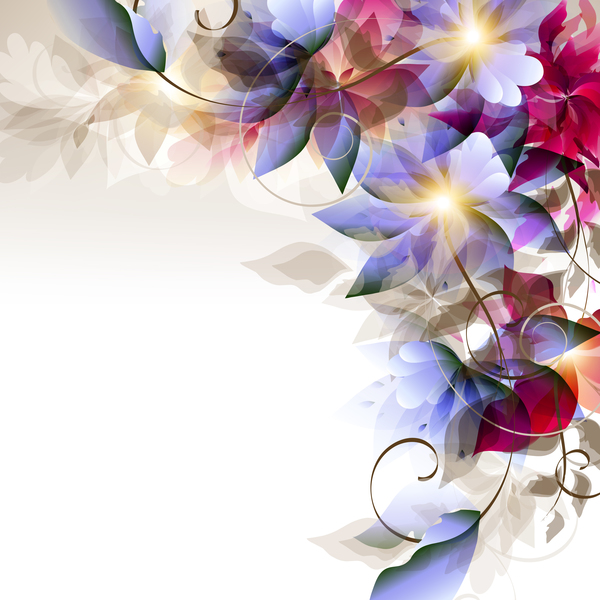Abstract floral foliage vector background 01 free download