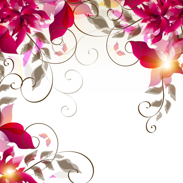 abstract floral foliage vector background 02 free download