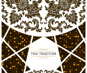 Abstract thai tradition pattern with mosaic background vector