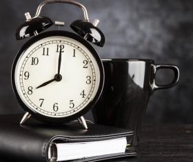 Alarm clock and A cup of coffee Stock Photo 03