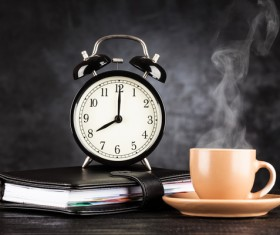 Alarm clock and A cup of coffee Stock Photo 04