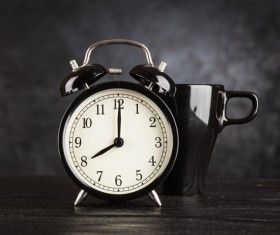 Alarm clock and A cup of coffee Stock Photo 05