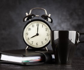 Alarm clock and A cup of coffee Stock Photo 06