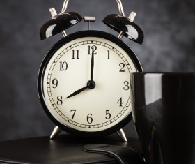 Alarm clock and A cup of coffee Stock Photo 07