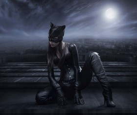 Amazing catwoman hunting at night Stock Photo