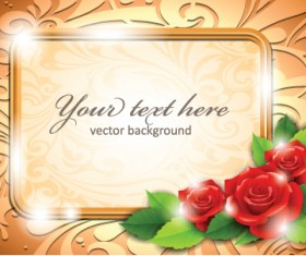 Beautiful flowers with golden frame backgrounds vector