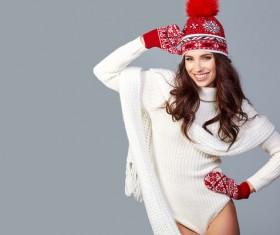 Beautiful winter fashion model Stock Photo 05