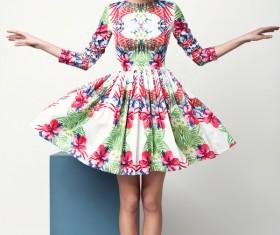 Beautiful woman wearing flower skirt Stock Photo