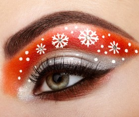 Beautiful woman with eyes, color eye shadow Stock Photo 01