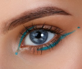 Beautiful woman with eyes, color eye shadow Stock Photo 03
