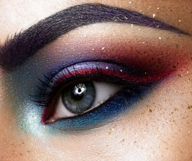 Beautiful woman with eyes, color eye shadow Stock Photo 04