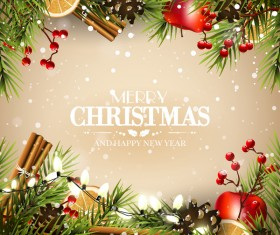 Beige christmas with new year traditional greeting card vector 01