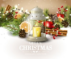 Beige christmas with new year traditional greeting card vector 04