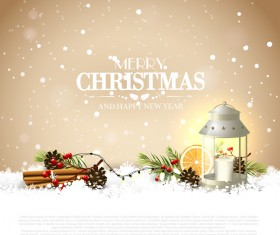 Beige christmas with new year traditional greeting card vector 05