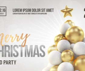 Beige xmas party flyer template with balloon christmas tree vector 02