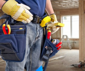 Belt Toolkit for construction workers Stock Photo