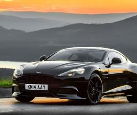 Black Aston Martin sports car Stock Photo