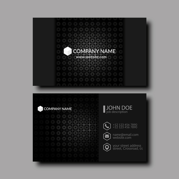 Black business card template creative vector 02
