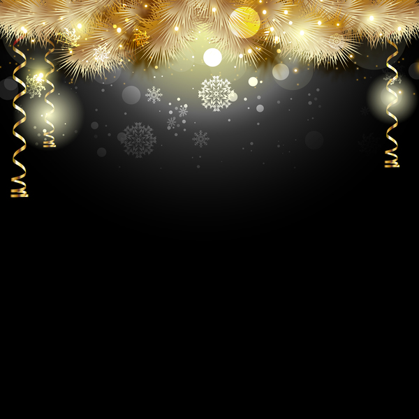 Black Christmas Background With Golden Decor Vector