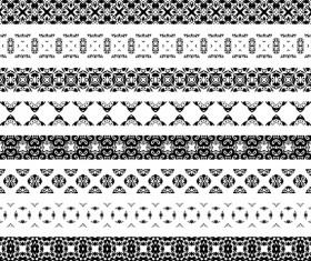 Black floral seamless borders vector 01