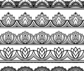 Black floral seamless borders vector 02