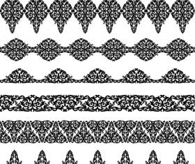 Black floral seamless borders vector 03