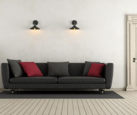 Black sofa with wall lamp HD picture