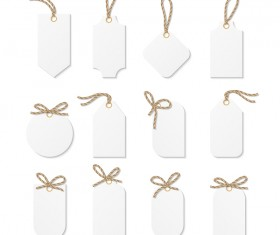 Blank white tags vector set 04
