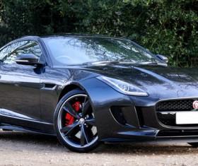 Blue Jaguar car Stock Photo